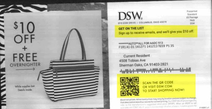 Как пример: DSW собирают email-подписчиков через обычное бумажное письмо