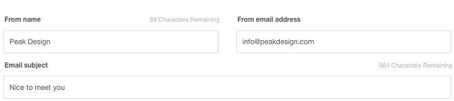 Тема, имя и email отправителя для приветственного письма