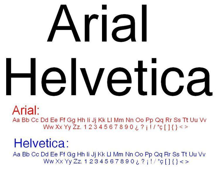 Сравнение Arial и Helvetica