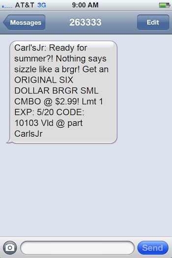 SMS-сообщение от Carl's Jr