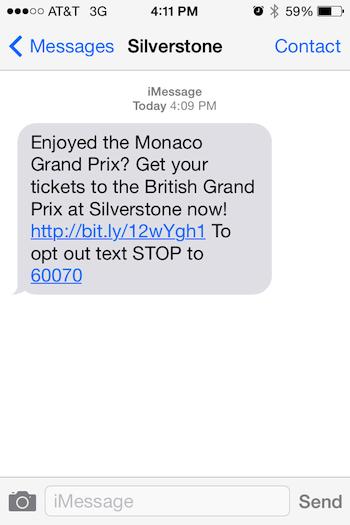 SMS-сообщение Silverstone