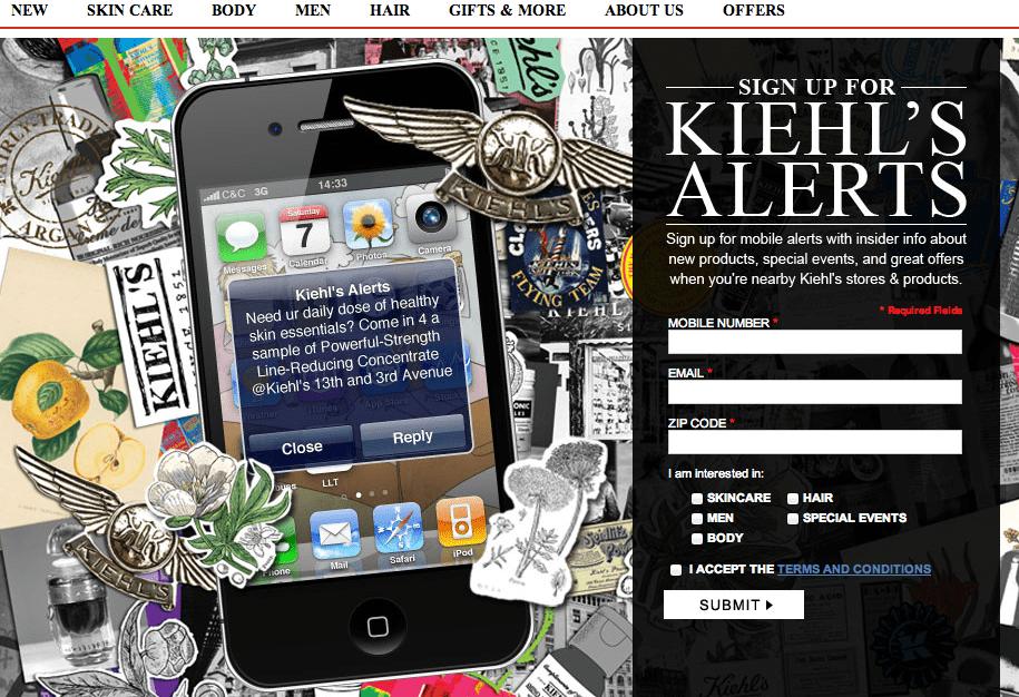 Подписная страница Kiehl's Alerts