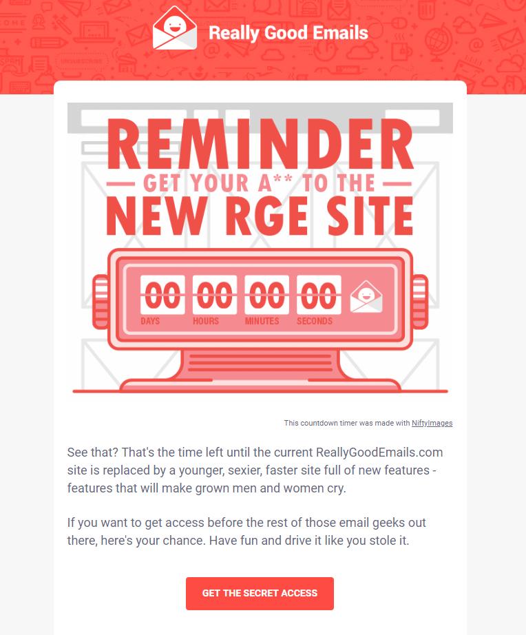 Really Good Emails запускали новый сайт иустановили отсчёт доего открытия. Сайт уже открыли— натаймере понулям