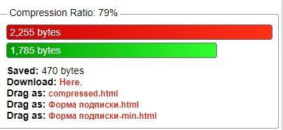Результаты сжатия в HTML compressor