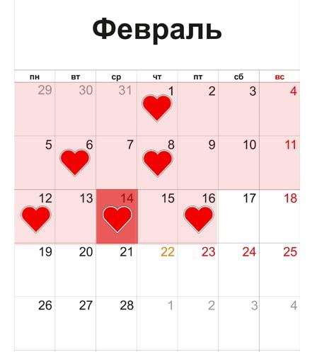 Пример графика рассылок к 14 февраля