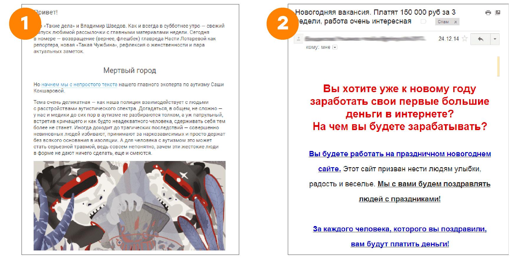 Какое письмо я достал из спама