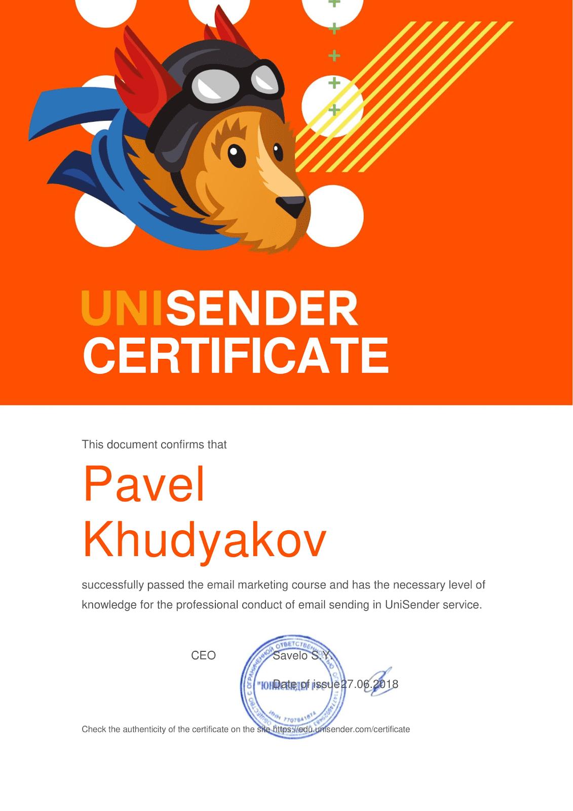 Сертификат Павла Худякова