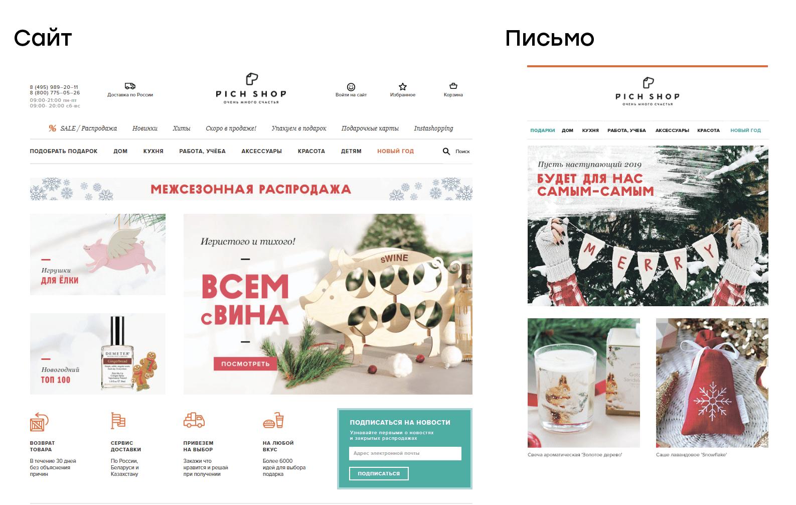 Сайт и письмо PichShop выполнены в одном стиле