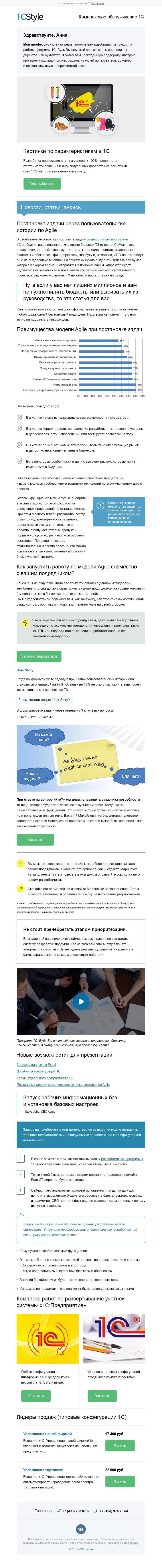 Услуги B2B Контентное письмо по работе с продуктами 1С