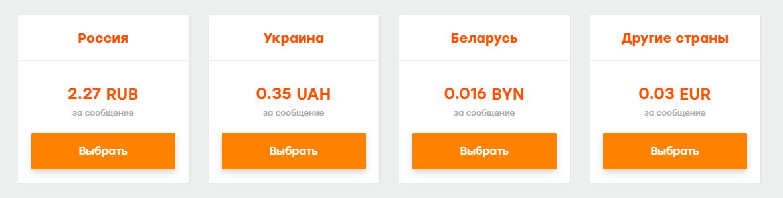 Цены на SMS по состоянию на 04.01.2019