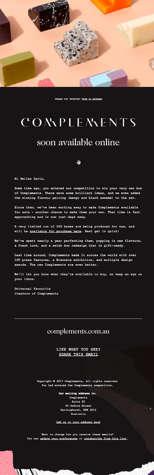 Письмо Complements