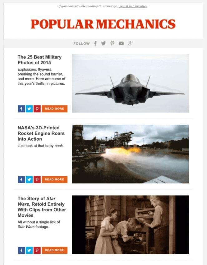 Шэринг контент у Popular Mechanics