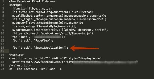 Так выглядит код пикселя с уже вставленным событием