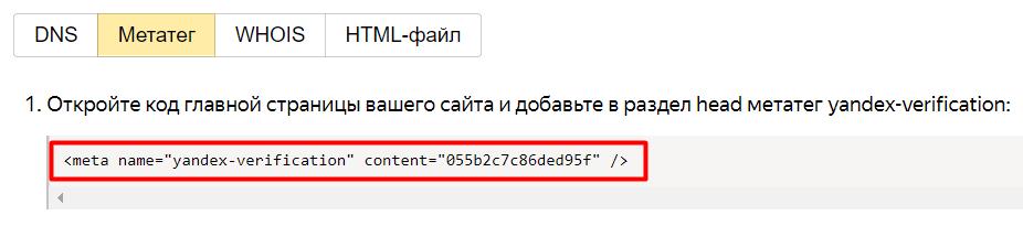 Копируем мета-тег, который выдал нам Яндекс