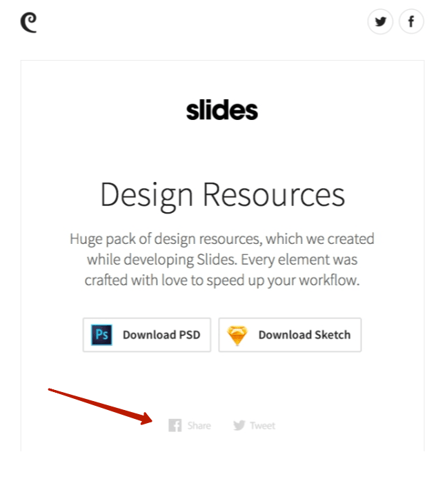 Шэринг-контент в письме Slides