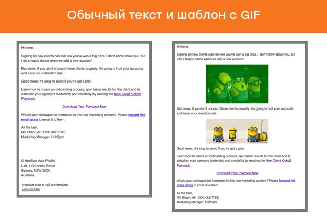 Исследование Hubspot. GIF снизили открытие письма на 37%