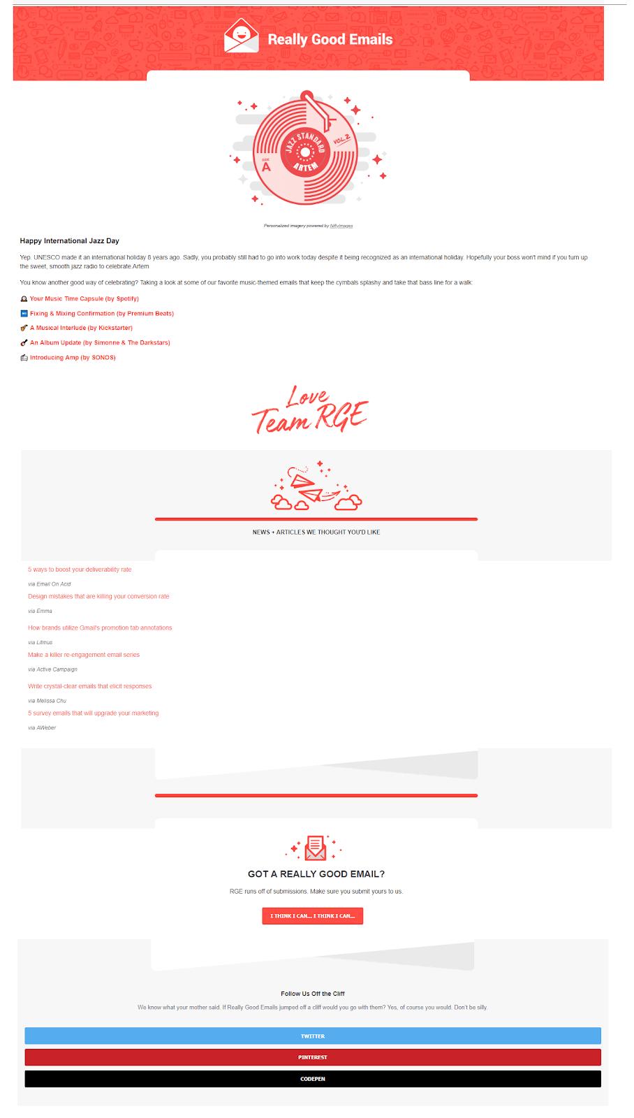 Рассылка Really Good Emails