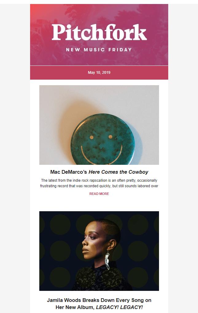 Рассылка Pitchfork
