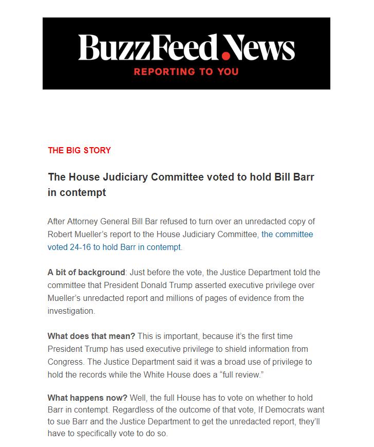 Одна из новостей в рассылке BuzzFeed Daily