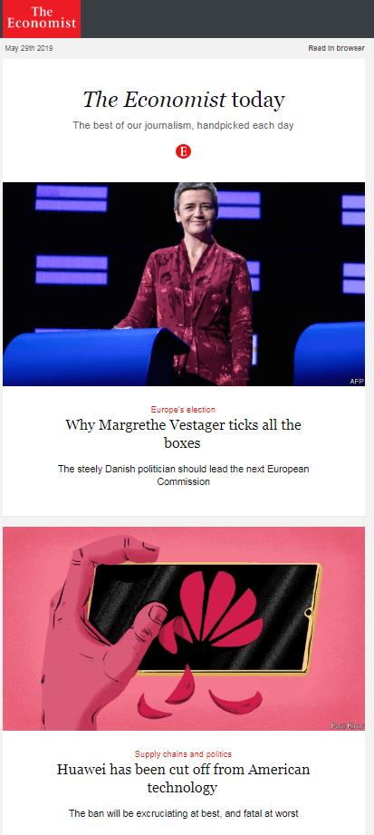 Пример рассылки The Economist