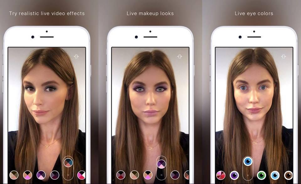 Пример использования AR для подбора цветов декоративной косметики