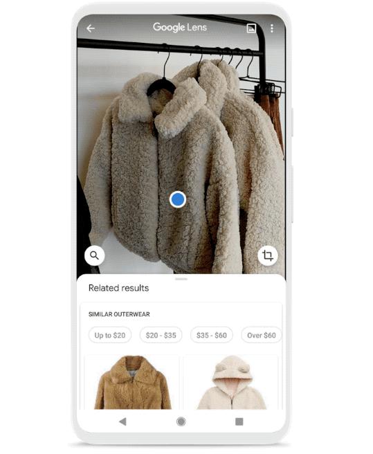 Google Lenz нашел похожие на фото шубки и даже показал цены