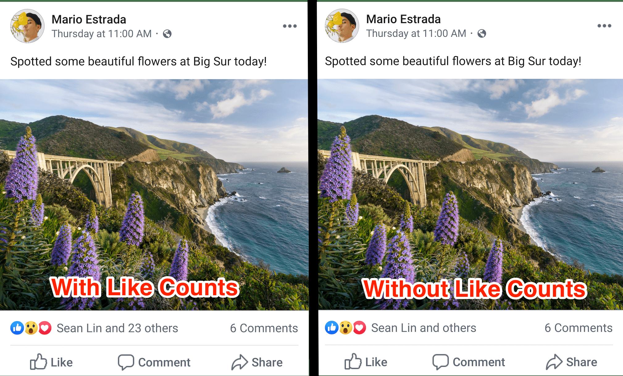 Как выглядит пост без количества лайков
