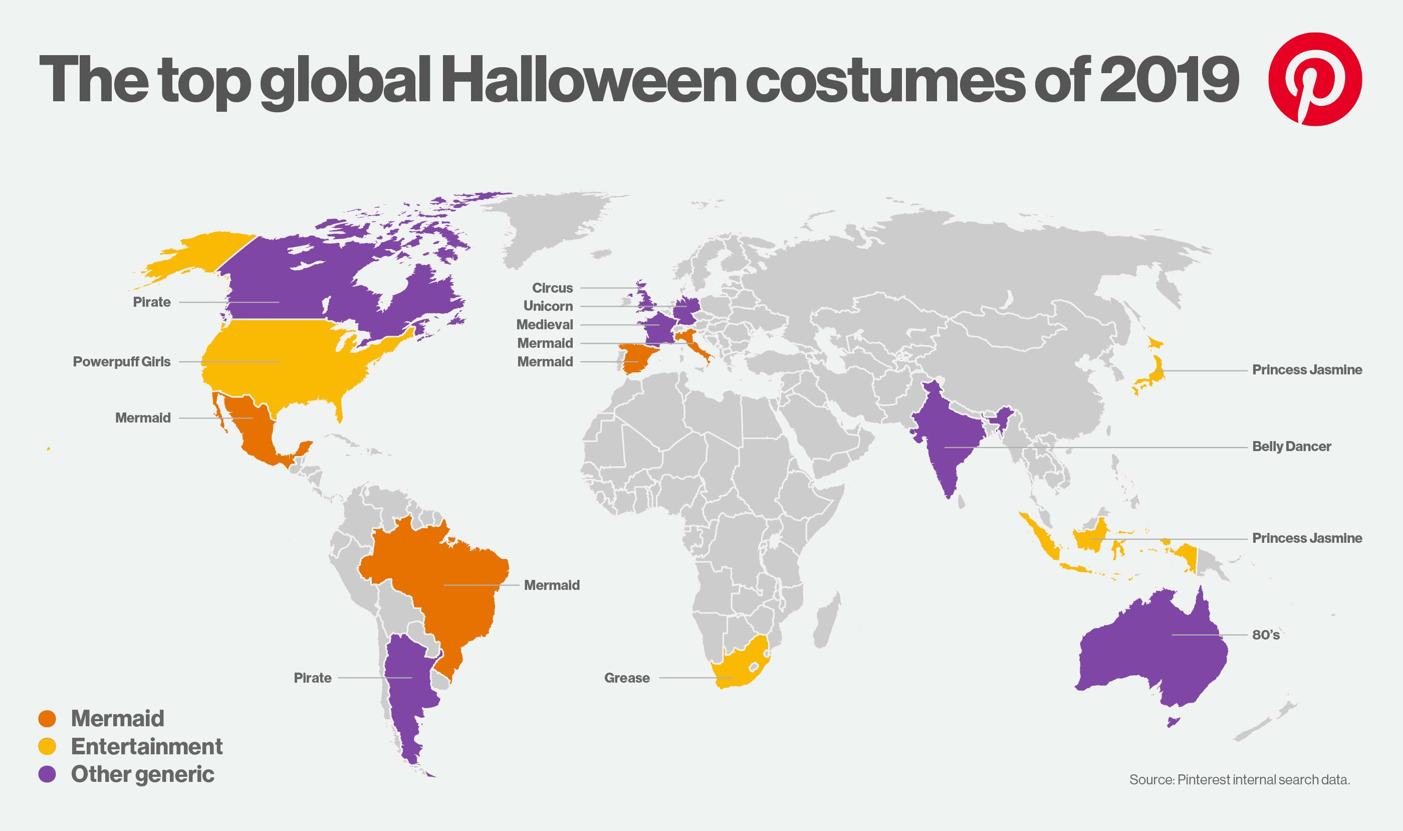 Мировая карта костюмов на Хэллоуин