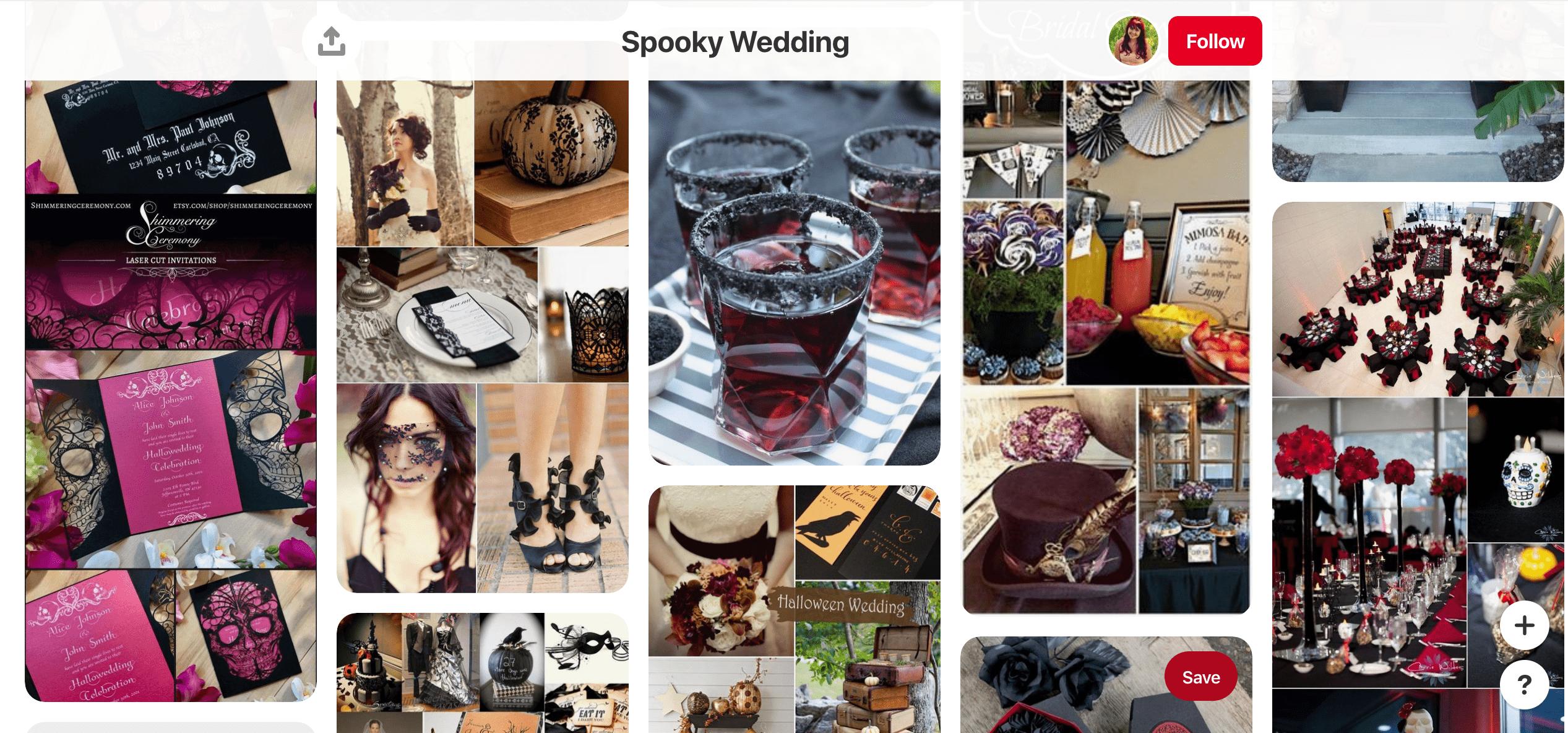 Фрагмент одной из досок, посвященных spooky wedding