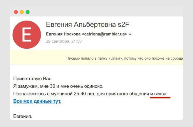 Спам-слова в тексте плюс спам-ссылка с редиректом