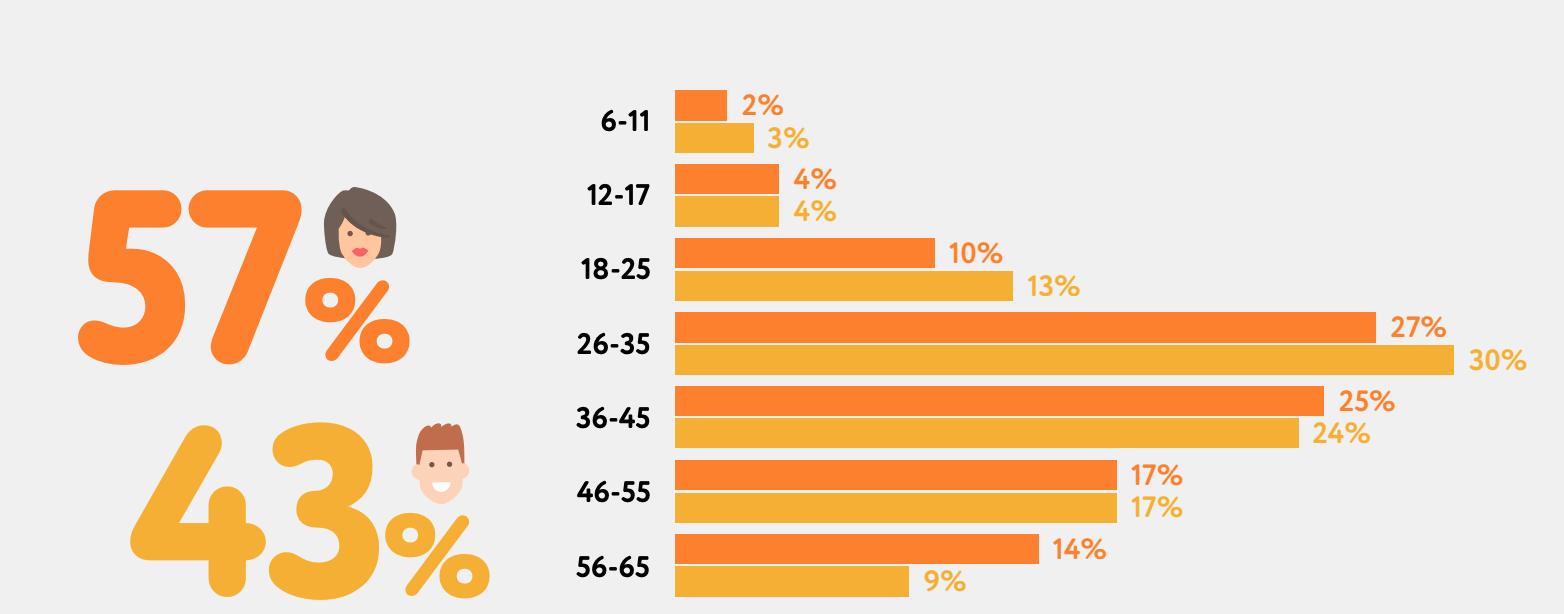 Аудитория Одноклассников по полу и возрасту