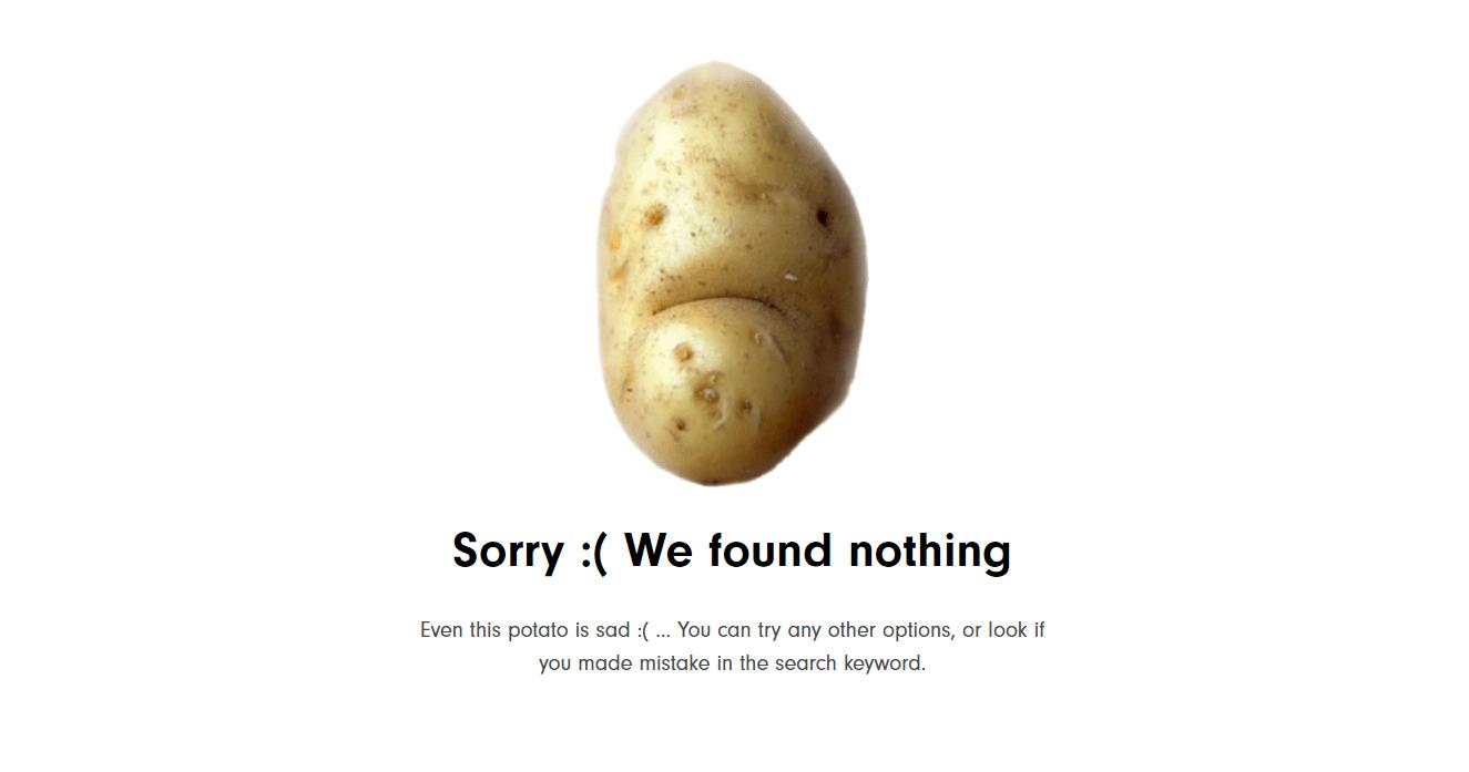 Если по вашему запросу ничего не нашлось, картошечка погрустит с вами за компанию