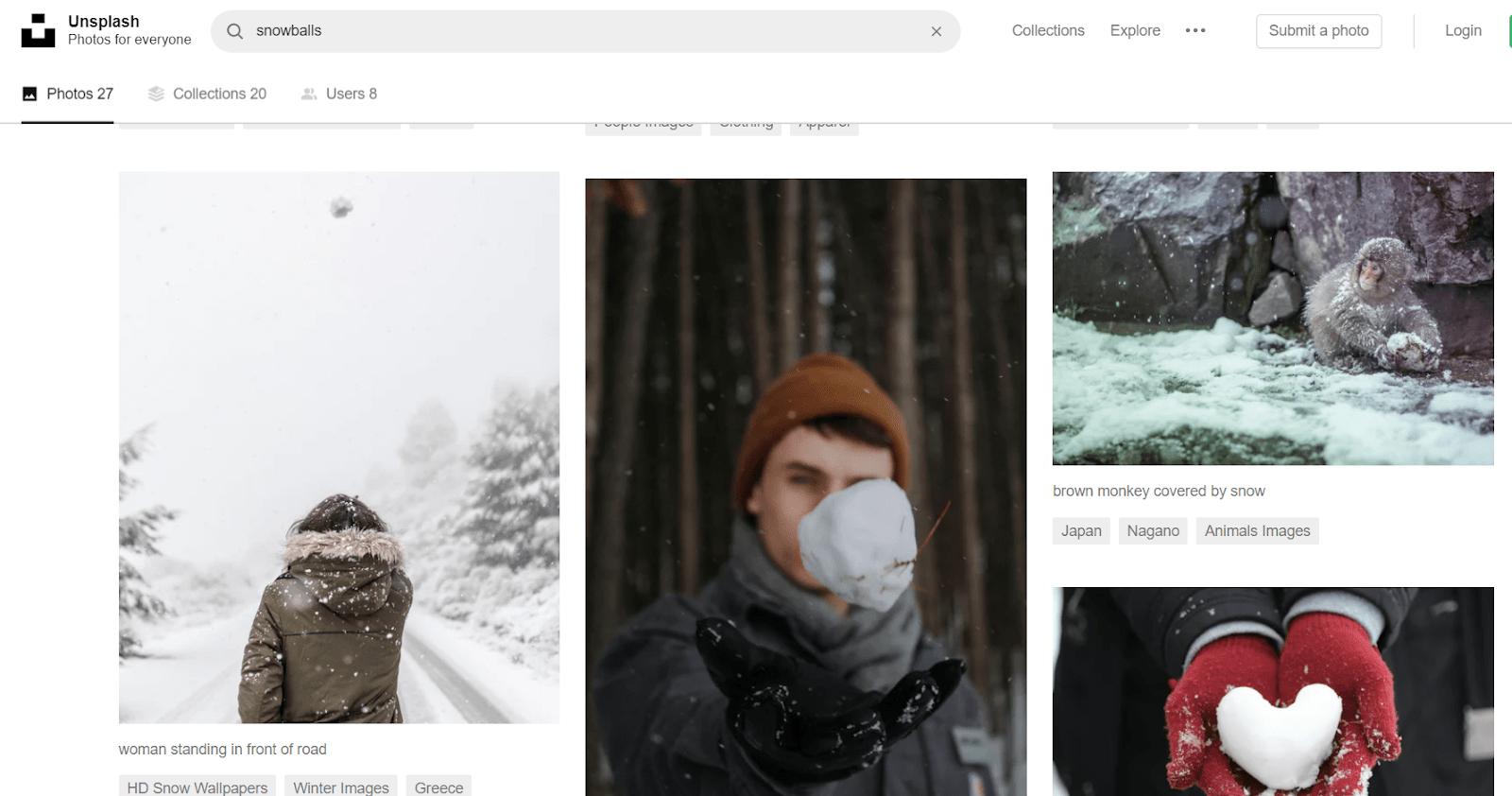 Фотографии по запросу «снежок». Даже японские макаки с удовольствием позируют фотографам с Unsplash
