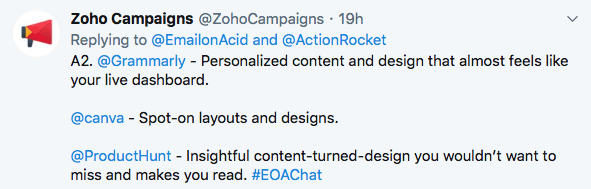 Пример ответов в опросе, отвечают представители Zoho CRM.