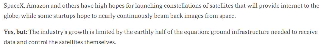 Yes, but в статье о земном лимите на спутники. «Рост индустрии ограничен земной частью уравнения: наземным оборудованием, необходимым, чтобы контролировать сами спутники»