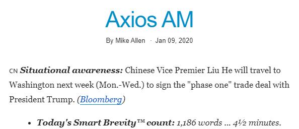 Ежедневная рассылка Axios AM 9 января была 1200 слов — 4,5 минуты чтения