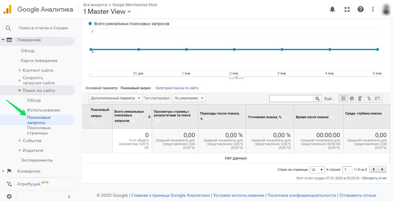 В этой вкладке Google Analytics можно посмотреть поисковые запроссы