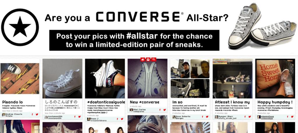 Рассылка от Converse с призывом размещать свои фото под хештегом и участвовать в розыгрыше лимитированных кроссовок / Источник