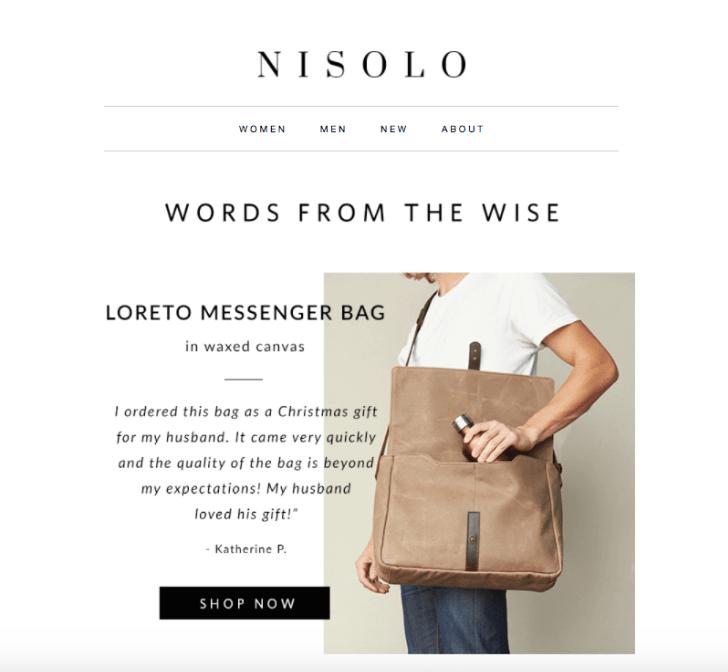 Пример отзыва в рассылке от компании Nisolo/Источник
