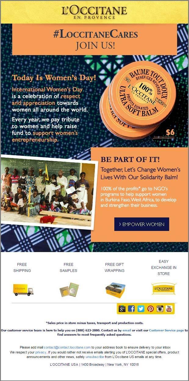 Магазин косметики Л'Окситан предлагает подписчицам сделать покупки и тем самым поддержать женщин-предпринимателей из Африки. Похвально. Такую инициативу хочется поддержать