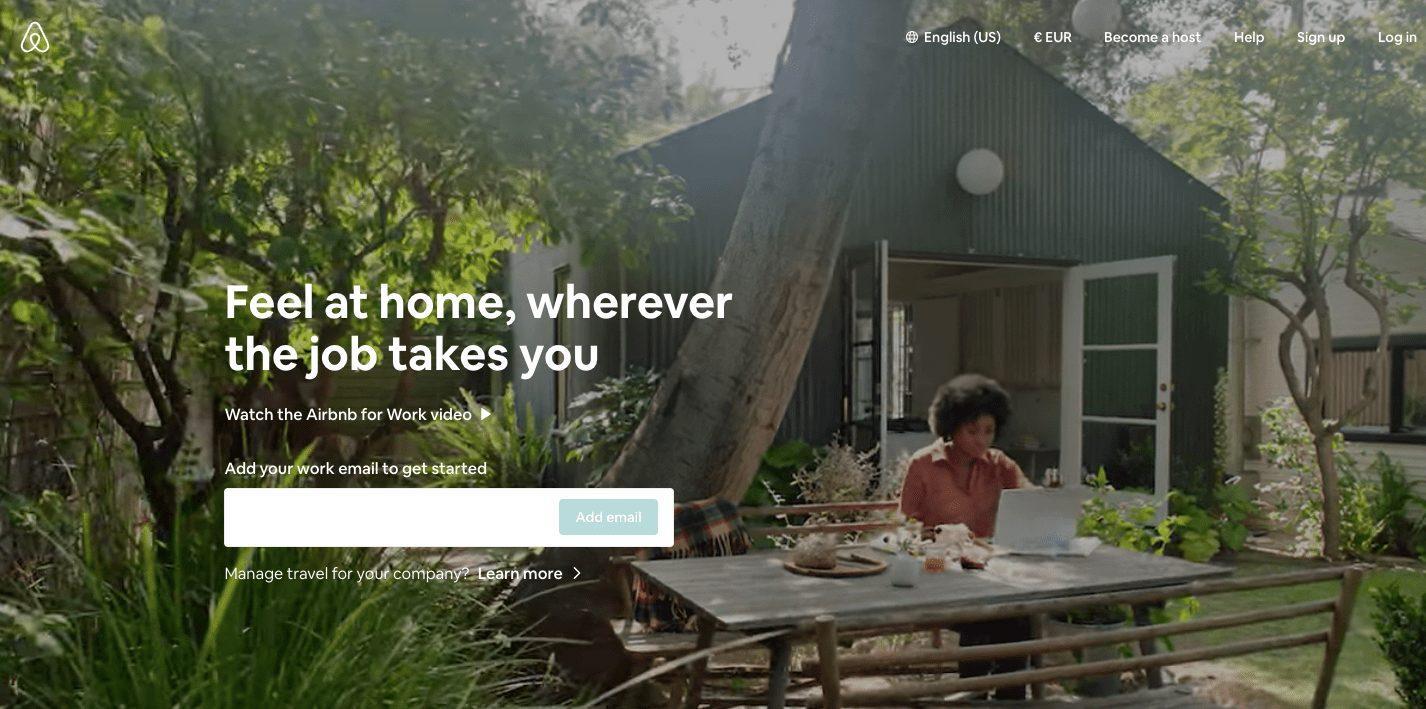 Скриншот с начального окна Careers Airbnb, на котором проигрывается полноформатное видео