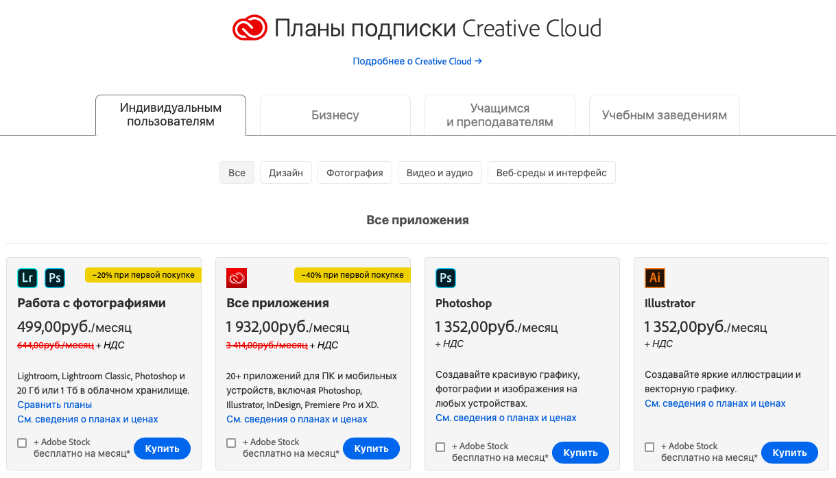 Тарифные планы Adobe Creative Cloud