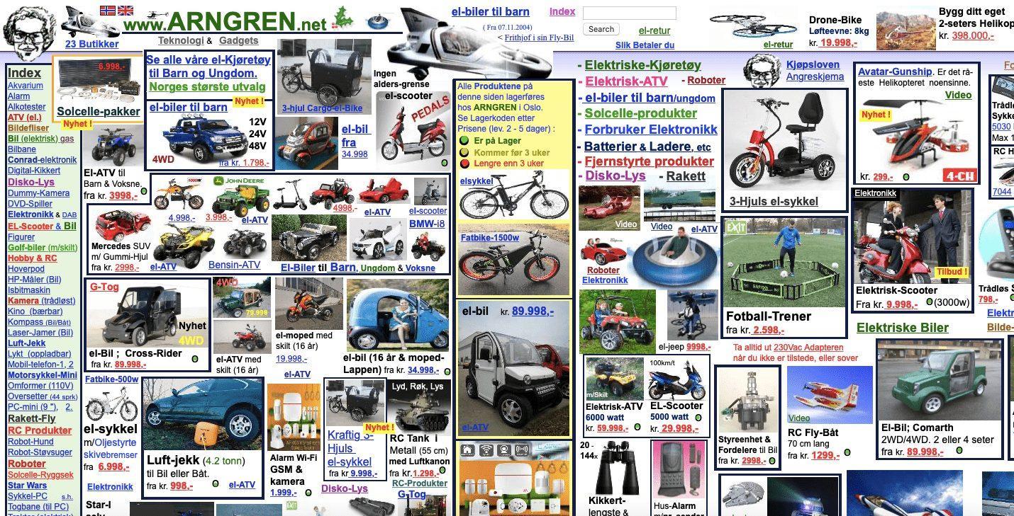 Пример сайта Arngren, на котором очень много всего. Очень
