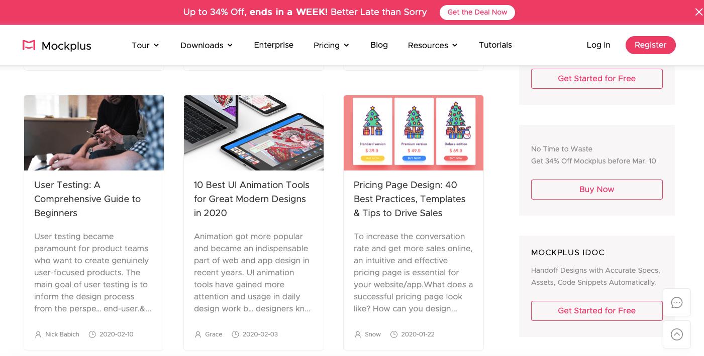 Справа — СТА-кнопки, слева — ссылки на новые материалы блога. Все логично и не мешает друг другу