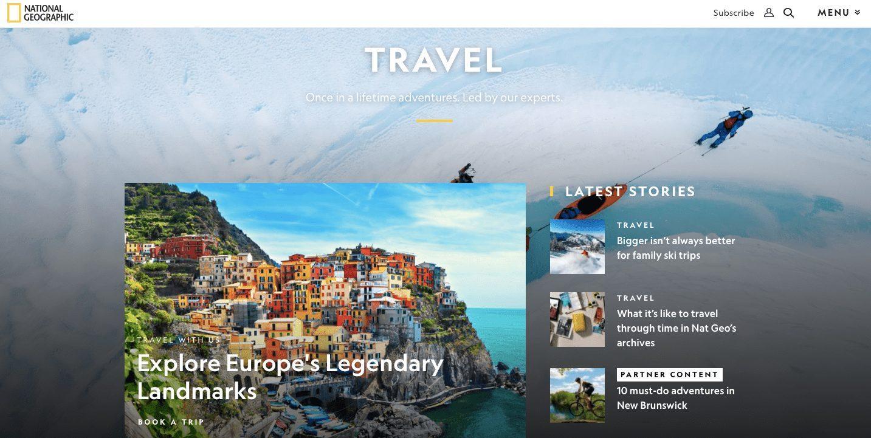 Сайт National Geographic. Контент разделен на блоки, у каждого из них свой заголовок. Есть цветовые акценты (например,«Partner content»)