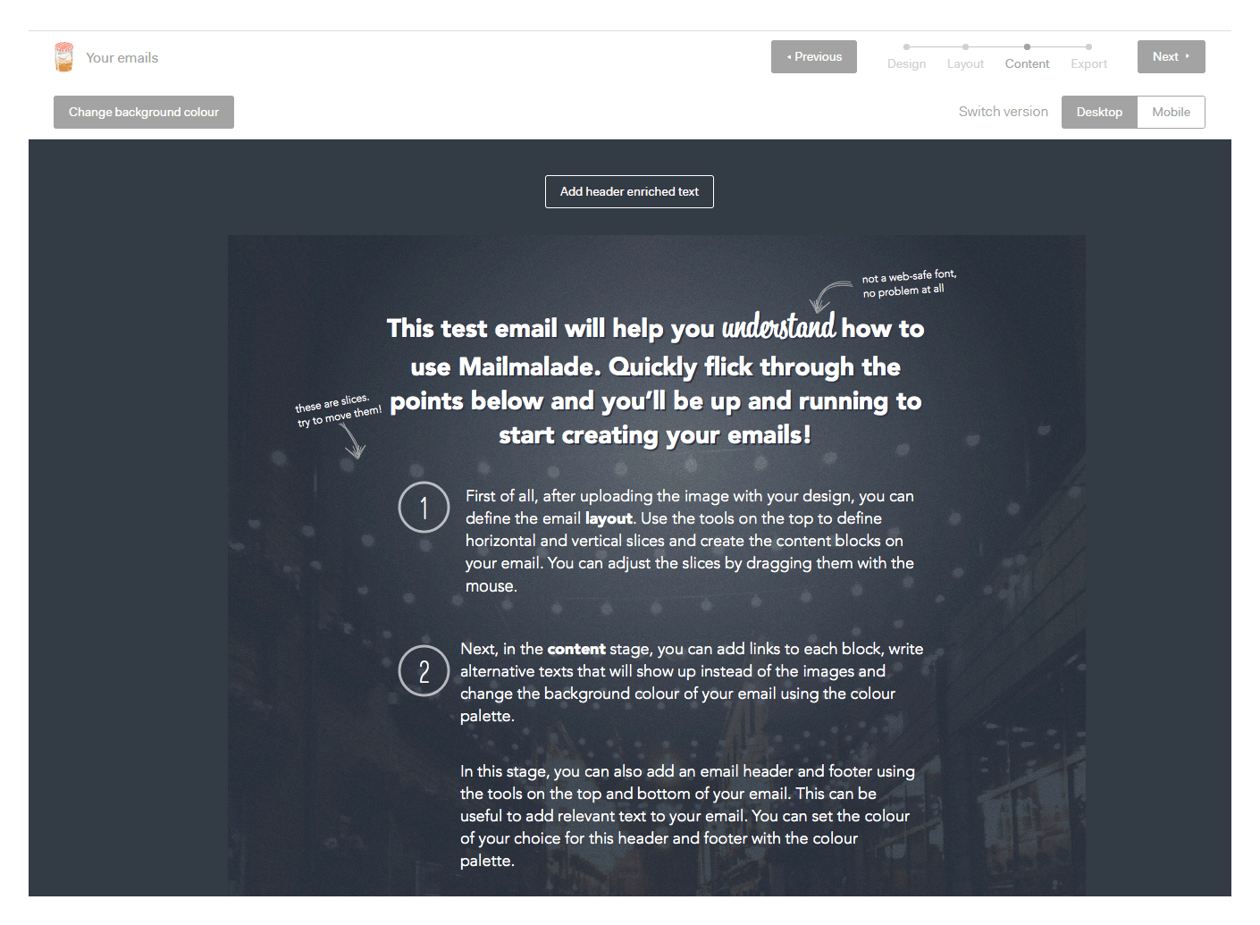 Визуальный HTML-редактор mailmalade