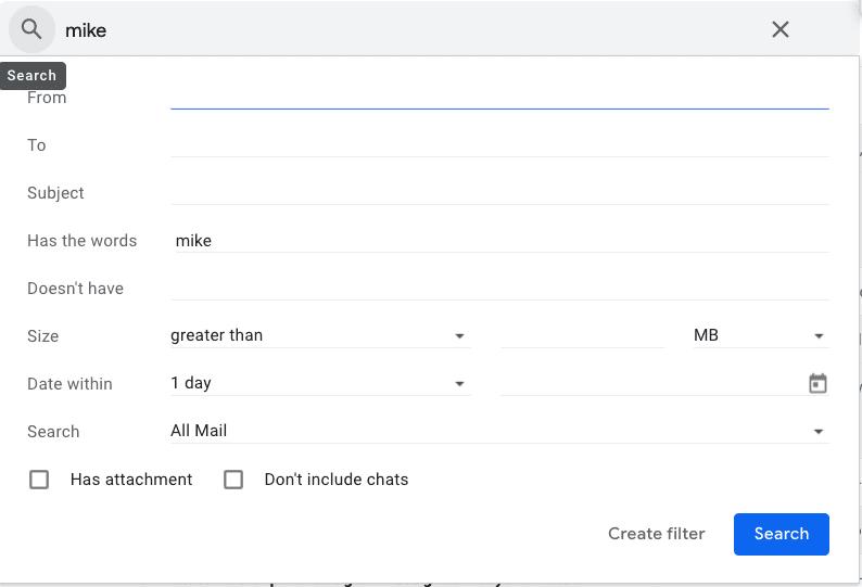 Расширенный поиск Gmail