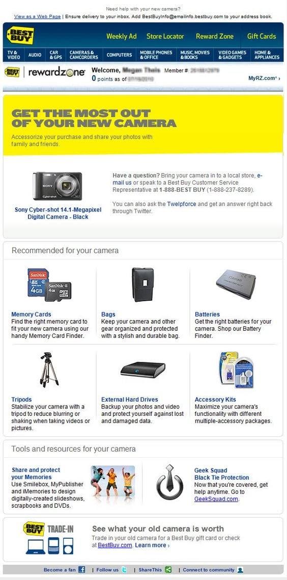 Получатель письма купил фотоаппарат, и теперь ему предлагают приобрести полезные аксессуары. Прикольный призыв к действию: «Получите максимум от вашей новой камеры»