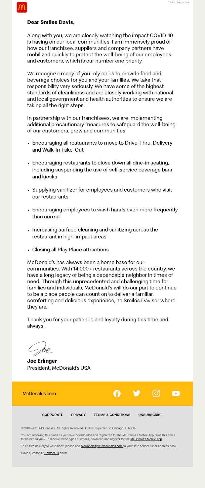 Обращение от президента компании McDonald's в Америке в связи с пандемией Covid-19. В письме речь идет о том, что изменится в работе всех ресторанов сети на время карантина