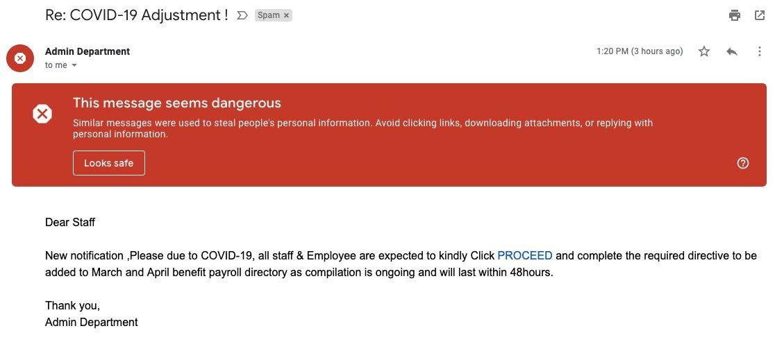 Пример спама, связанного с Covid-19, который проник во «Входящие» Gmail
